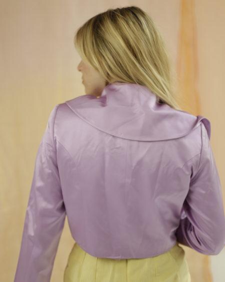 Top court vintage violet effet satin avec son gros noeud