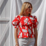 Top manches bouffantes rouge