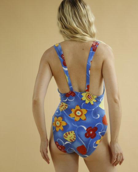 Body maillot bleu à fleurs