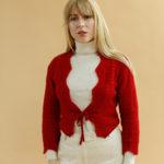 Pull crop top rouge en laine