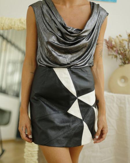 jupe en cuir vintage noire et blanche