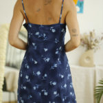 robe fluide bleue vintage