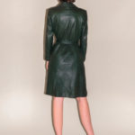 Trench cuir vert sapin