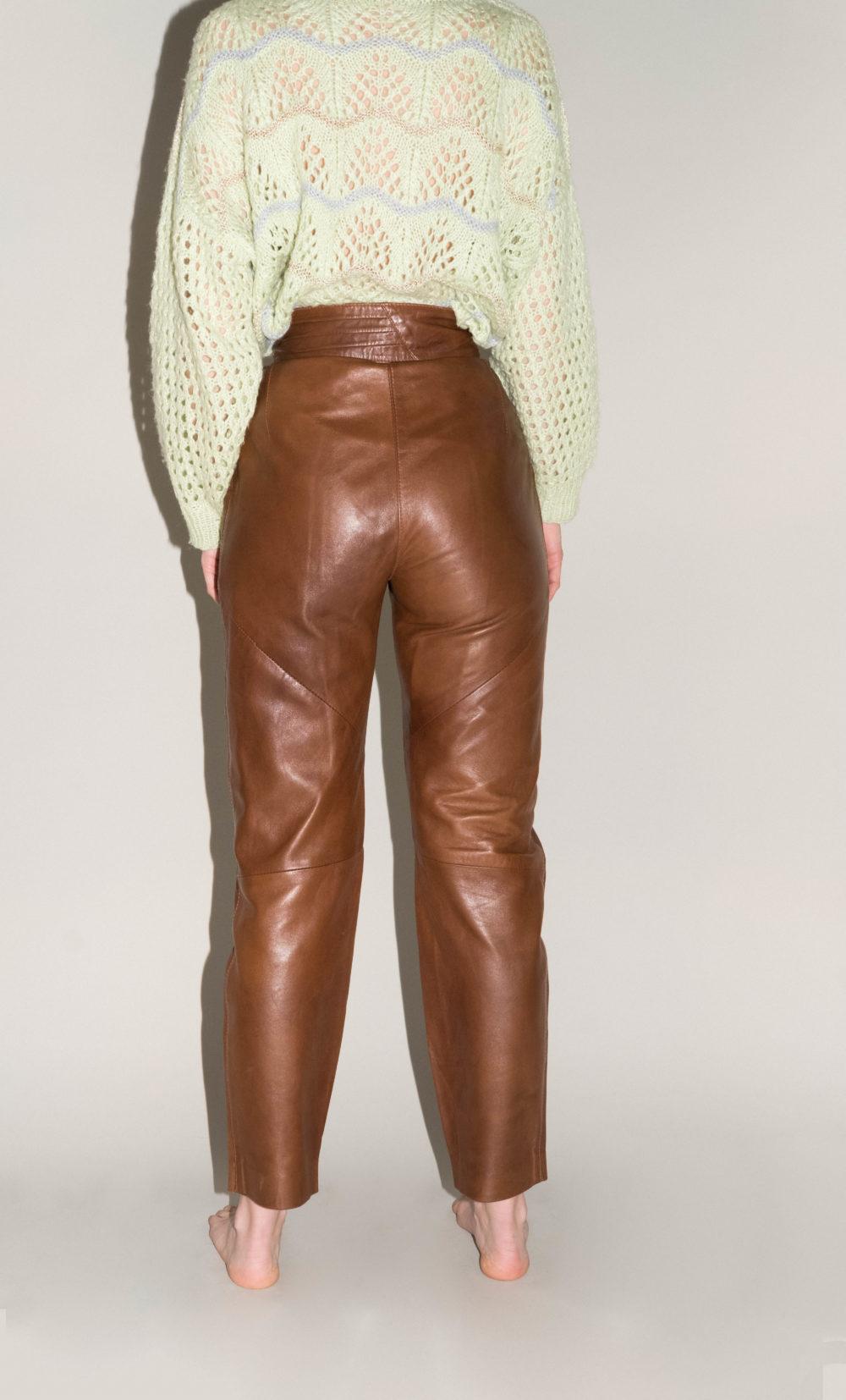 pantalon en cuir marron