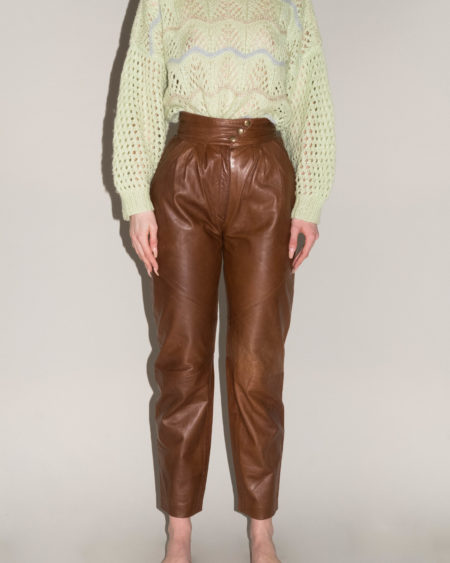 pantalon en cuir marron